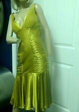Dina Bar-EL 20's 30's Style Art Deco Gatsby Gold Silk Dress P/S  NWT $510.00