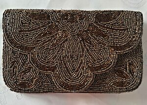 VINTAGE AUTHENTIC SARA BEADED GEOMETRIC ART BROWN PARTY  CLUTCH PURSE BAG