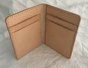 Leather Folding Wallet - Genuine Vegetable Tanned Crocodile Handmade UK
