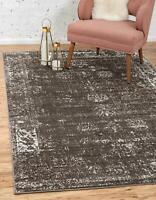 5 x 8 feet Traditional Area Rug Home Decor Faded Floral Pattern Distressed Brown