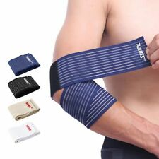 Elbow Sleeves Heavy Duty Support Wraps Straps Gym Power Weight Lifting Pair Wrap
