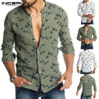 Men' s  Floral Printed Casual Long Sleeve Shirts Loose Henley Shirt Blouse Tops