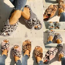 Ladies Furry Leopard Print Cross Over Mule Slippers Women Open Toe Shoes UK