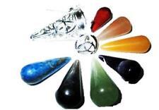 """Jet Triquetra 2"""" Chakra Cage Pendulum Dowsing Divination Silver 7 Stones Triple"""