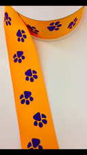 """Lsu Tiger Paw Print Grosgrain Ribbon 1.5"""" 10yd Gold with Purple Paws"""