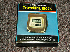 LCD Wallet Travel Clock, Alarm Month/Day & Lighted