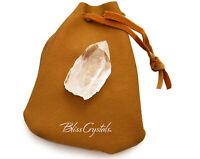 Large Rough Crystal Quartz Point wTan Ultrasuede MEDICINE BAG #PB33