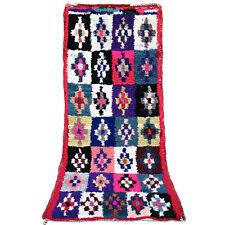 Vintage RUNNER rug Beni Ourain Moroccan Azilal bojaad handmade 6.7 FT X 3 FT