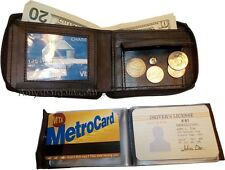 New Zip around man's Leather wallet change purse mini photo holder ID window nwt