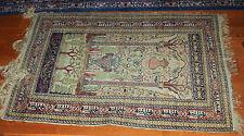 TURKISH RARE GEYSARIEH 100% HANDMADE WOOL & SILK  MAT CARPET   SIGNED & WRITTEN