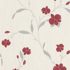 ERISMANN TEXTURED CREAM RED ORCHID FLORAL FLOWER QUALITY VINYL WALLPAPER 9745-06