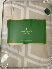 Kate Spade 3-Pc Full/Queen Bow Tile Comforter Set Brand New Beige Brown Tan