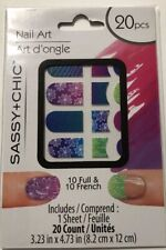 Nail Art 10 French &10 Full Purple Pink Blue Green New 20 count Sassy & Chic