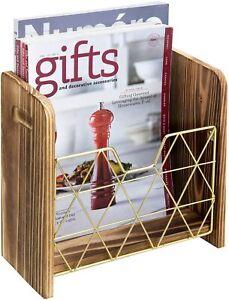 MyGift Burnt Wood and Geometric Brass Wire Magazine Holder Wall Basket Rack
