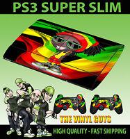 PLAYSTATION PS3 SUPER SLIM RASTA MAN DREADLOCK WEED MAN SKIN STICKER +2 PAD SKIN