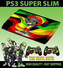 PLAYSTATION PS3 SUPER SLIM RASTA MAN DREADLOCK WEED MAN SKIN STICKER +2 PAD SKIN