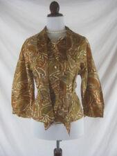 Vtg 50s 60s Rhoda Lee Womens Vintage Brown Paisley Flowers Shirt Top Blouse W38