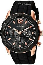 AUTHENTIC GUESS MEN'S CALIBER CHRONOGRAPH WATCH BLACK ROSE W0864G2 RRP: $449 New