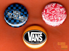 "Set of three 1"" Vans pins/buttons skater off the wall"