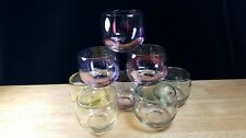 8 Iridescent Roly Poly Glasses Juice Barware by Federal Glass Jewel Gem Tone