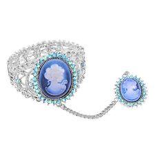 """CAMEO RING BRACELET SET GENUINE BLUE AUSTRIAN CRYSTALS RING 10 BRACELET 7"""""""