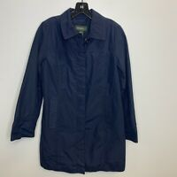 Women's Eddie Bauer Light Jacket Rain Coat Size Small Blue Pockets Button Up