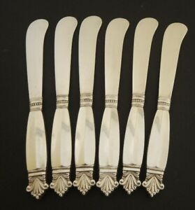 6 Georg Jensen Sterling Silver Acanthus Dronning Pate Knives 197gms.