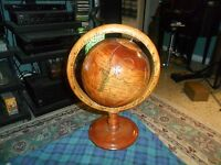 Vintage HAND CARVED WOOD NAUTICAL GLOBE GLOBE FOLK ART SCULPTURE Made In Mexico