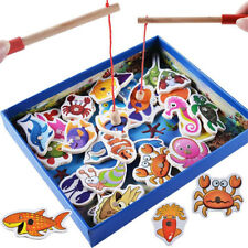 32 Pieces Kids Early Educational Toy Wooden Fish Magnetic Fishing Toys Game