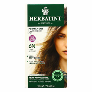 Herbatint Permanent Herbal Hair Color Gel, 6N Dark Blonde, 4.56 Ounce
