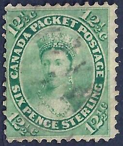 CANADA 1859 Sc 18 12 1/2 YELLOW GREEN NEAT PERFS NO FAULTS