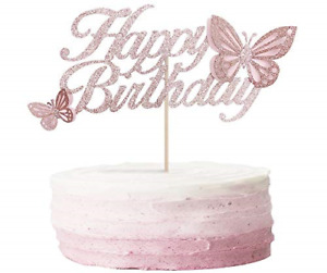 ALISSAR Rose Gold Happy Birthday Cake Topper with 3d Handmade Butterfly, Cake