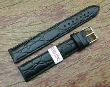 18mm Reloj Correa De Cuero Negro Estilo Cocodrilo Extra Larga