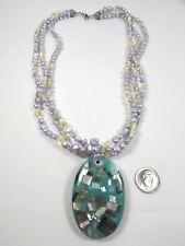 Lee Sands Design Serendipity Abalone Oval Mosaic Motif w 3 st. Pearls/MOP NK
