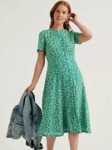 NEW Lucky Brand Women's Penelope Midi Dress, Size XS, Floral Green