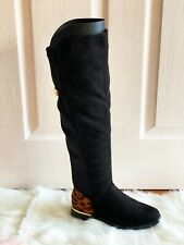 Women Knee High Flat Ladies Long Faux Suede Leopard print Zip Thigh High Boots