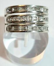 Diamonique 3 Reihen Channel Set Sterling Silber 925 Wide Band Ring Größe Q 1/2.