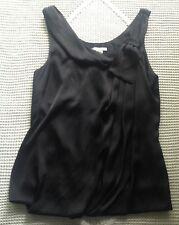 H&M Womens Black Silky Dress Top Shirt Blouse Size 2 Asymmetrical Bow sleeveless