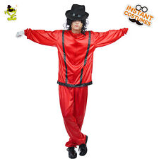 Thriller Michael Jackson Role Play Costume Set Adult Men's Star Cosplay Red Suit