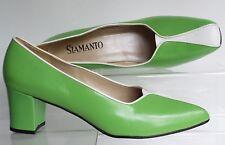 VINTAGE siamanto 9.5 43.5 12N Trans CD Vivido Verde Bianco in Pelle Tacco A Blocco Medio