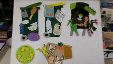 FELT BOARD FLANNEL STORY RESOURCE - REDUCE  RE-USE  AND RECYCLE /COMPOST BIN