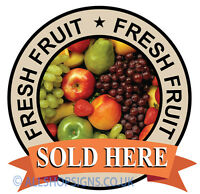 FRESH FRUIT SIGN Catering shop Sign Grocery Window sticker Cafe Restaurant decal