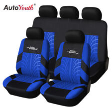 Track Detail Style Car Seat Covers Set Polyester Fabric Universal Car Protector