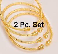2 Pc Set 18k Yellow Gold Women's Elegant Bangle Diamond Cut Design Bracelet D712
