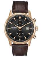 Citizen Eco-Drive Men's Chronograph Rose Gold Tone 43mm Watch CA7003-06E