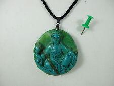 Guan Yin Buda amuleto turquesa piedra tallada collar remolque tíbet ~ 1970