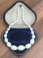 "Lovely 13"" Vintage Art Deco White Glass Beaded Child's Size Necklace"