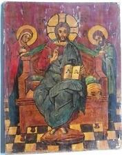 Antica icona russa CRISTO PANTOCRATORE, MADONNA E SAN GIOVANNI XIX°sec. tempera