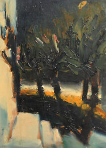 1999 EXPRESSIONIST LANDSCAPE OIL PAINTING SIGNED