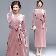 Retro Long Sleeve V-Neck Velvet Wedding Party Cocktail Prom Tunic Maxi Dress